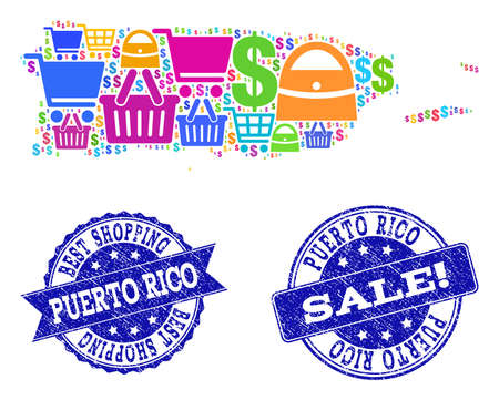 Best shopping composition of mosaic map of Puerto Rico and rubber seals. Vector blue seals with scratched rubber texture for sales. Flat design for advertisement posters. Vetores