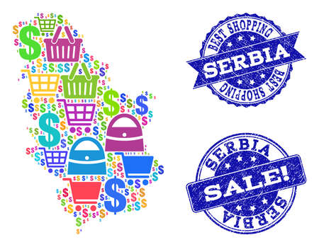 Best shopping collage of mosaic map of Serbia and grunge seals. Vector blue seals with unclean rubber texture for sales. Flat design for shopping templates. Ilustração