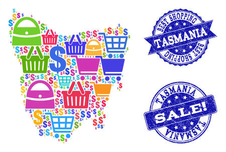 Best shopping collage of mosaic map of Tasmania Island and scratched stamps. Vector blue seals with scratched rubber texture for sales. Flat design for shopping templates.
