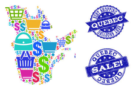 Best shopping composition of mosaic map of Quebec Province and rubber stamps. Vector blue imprints with scratched rubber texture for sales. Flat design for trade purposes.