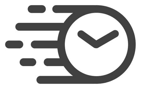 Clock icon with fast speed effect. Vector illustration designed for modern abstract with symbols of speed, rush, progress, energy. Fast clock movement symbol on a white background. Stock Vector - 111084402