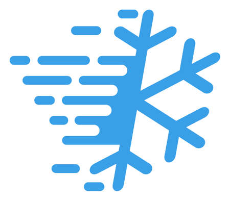 Frost snowflake icon with fast speed effect. Vector illustration designed for modern abstraction with symbols of speed, rush, progress, energy.