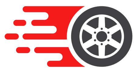Bolide car wheel icon with fast speed effect in red and black colors. Raster illustration designed for modern abstract with symbols of speed, rush, progress, energy. Stock Photo
