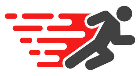 Running man icon with fast rush effect in red and black colors. Raster illustration designed for modern abstraction with symbols of speed, rush, progress, energy. Stock Photo