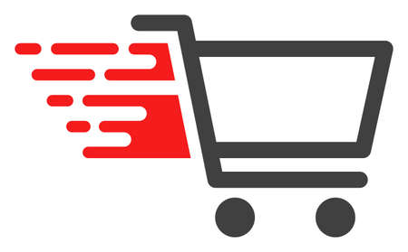 Shop cart icon with fast rush effect in red and black colors. Raster illustration designed for modern abstraction with symbols of speed, rush, progress, energy.