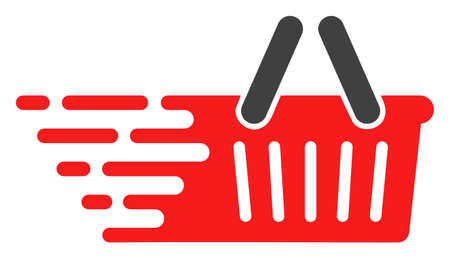 Shopping basket icon with fast speed effect in red and black colors. Raster illustration designed for modern abstraction with symbols of speed, rush, progress, energy.