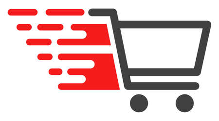 Shopping cart v4 icon with fast speed effect in red and black colors. Raster illustration designed for modern abstraction with symbols of speed, rush, progress, energy.