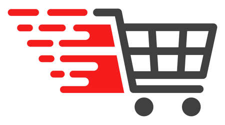 Supermarket cart v2 icon with fast speed effect in red and black colors. Raster illustration designed for modern abstraction with symbols of speed, rush, progress, energy.
