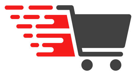 Supermarket cart icon with fast rush effect in red and black colors. Raster illustration designed for modern abstraction with symbols of speed, rush, progress, energy.