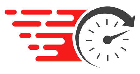 Time v2 icon with fast speed effect in red and black colors. Raster illustration designed for modern abstraction with symbols of speed, rush, progress, energy. Stock Photo