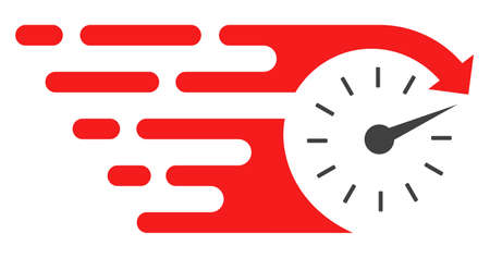 Time v3 icon with fast speed effect in red and black colors. Raster illustration designed for modern abstraction with symbols of speed, rush, progress, energy.