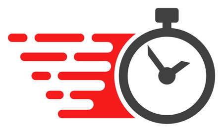Time icon with fast speed effect in red and black colors. Raster illustration designed for modern abstract with symbols of speed, rush, progress, energy.