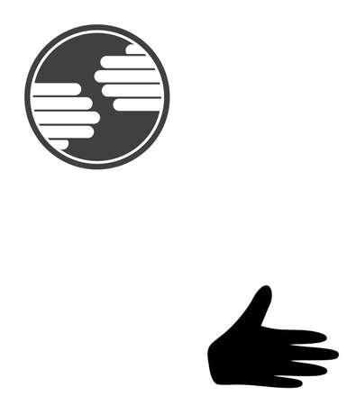 Hands circle icon on a white background. Isolated hands circle symbol with flat style. Stock Illustratie