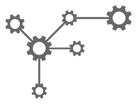 Gear links icon on a white background. Isolated gear links symbol with flat style.