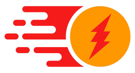 Electric charge icon with fast speed effect in red and yellow colors. Vector illustration designed for modern abstract with symbols of speed, rush, progress, energy.