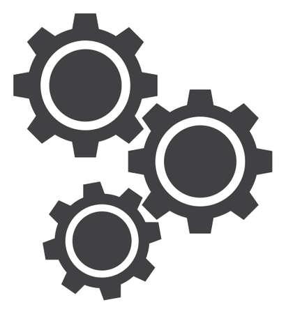 Icône d'engrenages sur fond blanc. Symbole d'engrenages isolés avec un style plat. Vecteurs