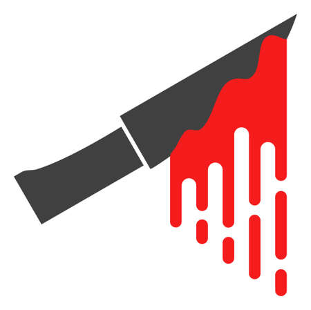 Bloody knife icon on a white background. Isolated bloody knife symbol with flat style. Illustration