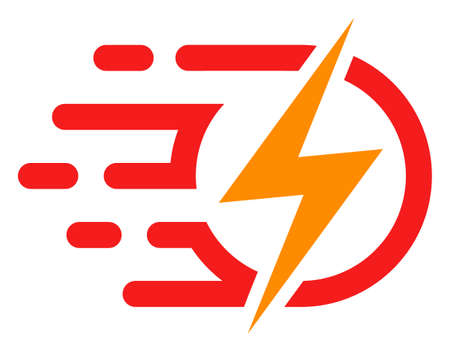 Electric voltage icon with fast rush effect in red and yellow colors. Vector illustration designed for modern abstraction with symbols of speed, rush, progress, energy.