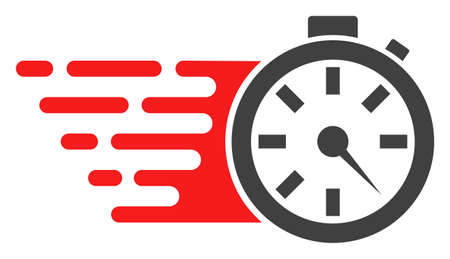 Timer icon with fast speed effect in red and black colors. Vector illustration designed for modern abstraction with symbols of speed, rush, progress, energy. Illustration
