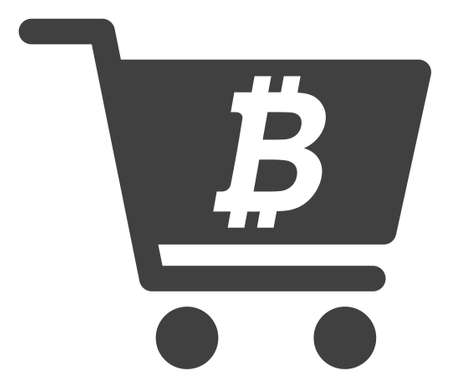 Bitcoin webshop icon on a white background. Isolated bitcoin webshop symbol with flat style. Stock Illustratie