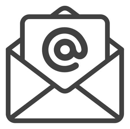 Open e-mail icon on a white background. Isolated open e-mail symbol with flat style. Ilustração