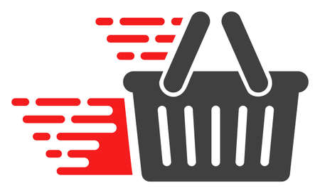 Shopping basket icon with fast rush effect in red and black colors. Vector illustration designed for modern abstraction with symbols of speed, rush, progress, energy.