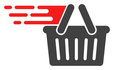 Shopping basket icon with fast rush effect in red and black colors. Vector illustration designed for modern abstract with symbols of speed, rush, progress, energy.