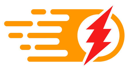 Electric spark icon with fast rush effect in red and yellow colors. Vector illustration designed for modern abstraction with symbols of speed, rush, progress, energy.