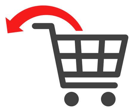 Undo shopping order icon on a white background. Isolated undo shopping order symbol with flat style.