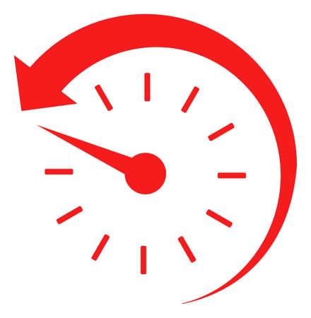 Icône de temps en arrière sur un fond blanc. Symbole isolé du temps en arrière avec un style plat.