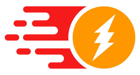 Electric charge icon with fast rush effect in red and yellow colors. Vector illustration designed for modern abstraction with symbols of speed, rush, progress, energy. Ilustração