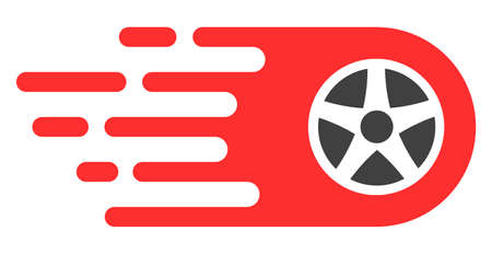 Bolide wheel icon with fast rush effect in red and black colors. Vector illustration designed for modern abstraction with symbols of speed, rush, progress, energy. Illustration