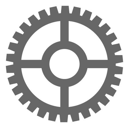 Clock cog icon on a white background. Isolated clock cog symbol with flat style.