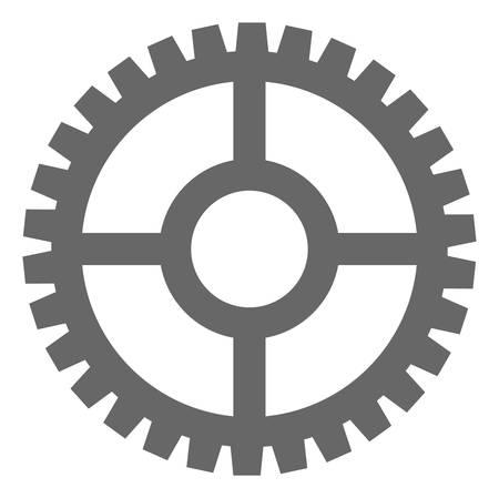 Uhr-Zahnrad-Symbol auf weißem Hintergrund. Isoliertes Uhrzahnradsymbol mit flachem Stil.