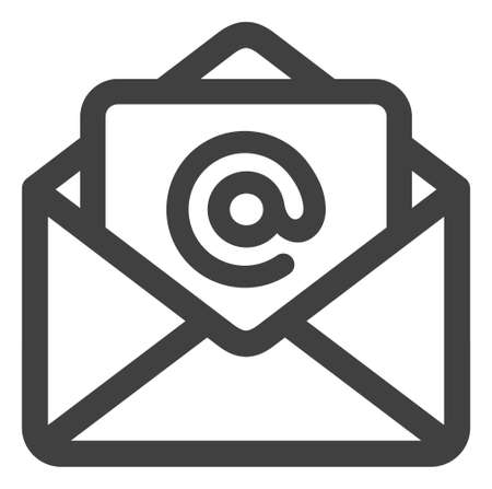 Open email icon on a white background. Isolated open email symbol with flat style. Ilustração