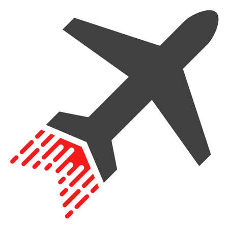 Jet liner icon with fast rush effect in red and black colors. Vector illustration designed for modern abstract with symbols of speed, rush, progress, energy. Illustration
