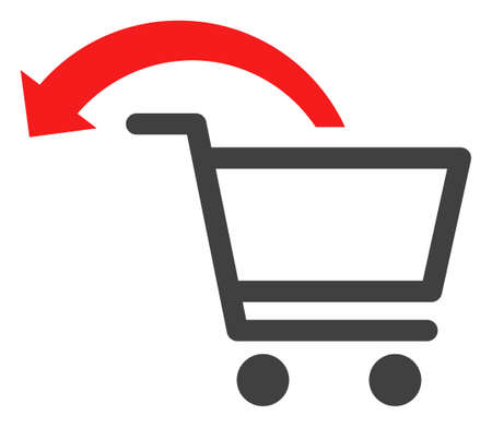 Cancel shopping order icon on a white background. Isolated cancel shopping order symbol with flat style. Illustration