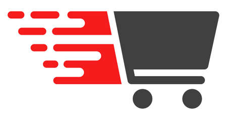 Shopping cart icon with fast rush effect in red and black colors. Vector illustration designed for modern abstract with symbols of speed, rush, progress, energy. Stock Illustratie