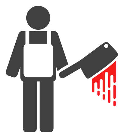 Bloody butcher icon on a white background. Isolated bloody butcher symbol with flat style. Stock Vector - 111217707