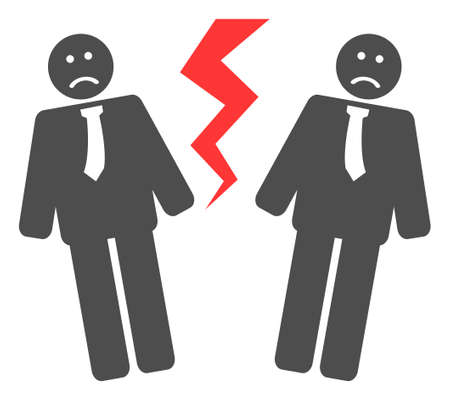 Businessmen conflict icon on a white background. Isolated businessmen conflict symbol with flat style.