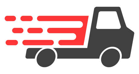 Delivery car chassi icon with fast rush effect in red and black colors. Vector illustration designed for modern abstraction with symbols of speed, rush, progress, energy. Vektoros illusztráció