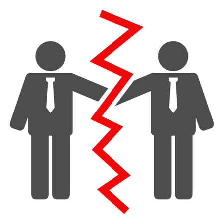 Businessmen divorce icon on a white background. Isolated businessmen divorce symbol with flat style. Illustration