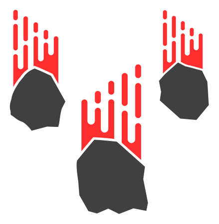 Falling rocks icon with fast speed effect in red and black colors. Vector illustration designed for modern abstract with symbols of speed, rush, progress, energy.