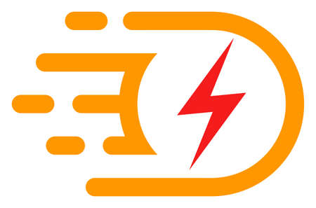Electric voltage icon with fast speed effect in red and yellow colors. Vector illustration designed for modern abstract with symbols of speed, rush, progress, energy. Illustration