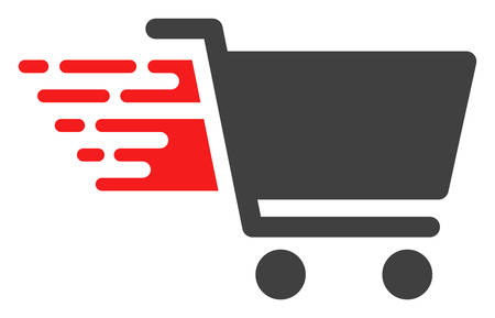 Shopping cart icon with fast speed effect in red and black colors. Vector illustration designed for modern abstraction with symbols of speed, rush, progress, energy.