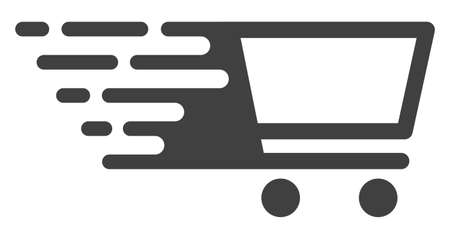 Shopping cart icon with fast rush effect in red and black colors. Vector illustration designed for modern abstraction with symbols of speed, rush, progress, energy.