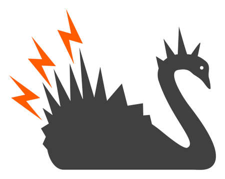 Black danger swan icon on a white background. Isolated black danger swan symbol with flat style.