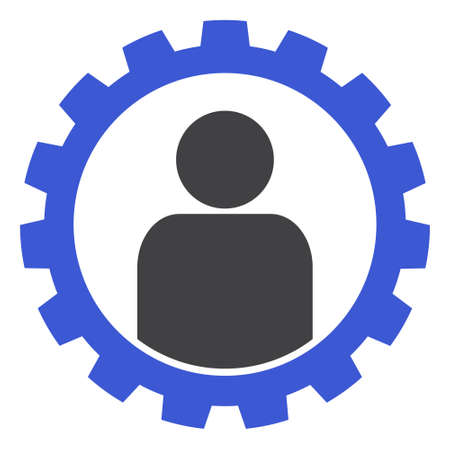 Customer setup gear icon on a white background. Isolated customer setup gear symbol with flat style. Banco de Imagens