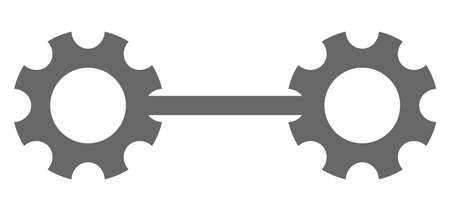 Gear links v10 icon on a white background. Isolated gear links v10 symbol with flat style.