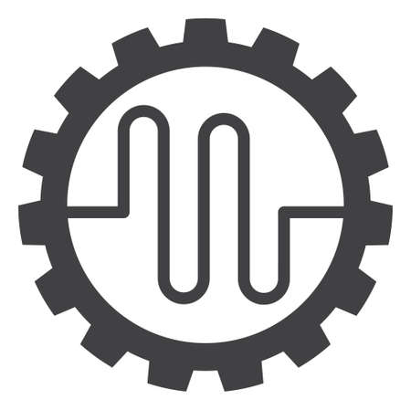 Pipe service cog icon on a white background. Isolated pipe service cog symbol with flat style.